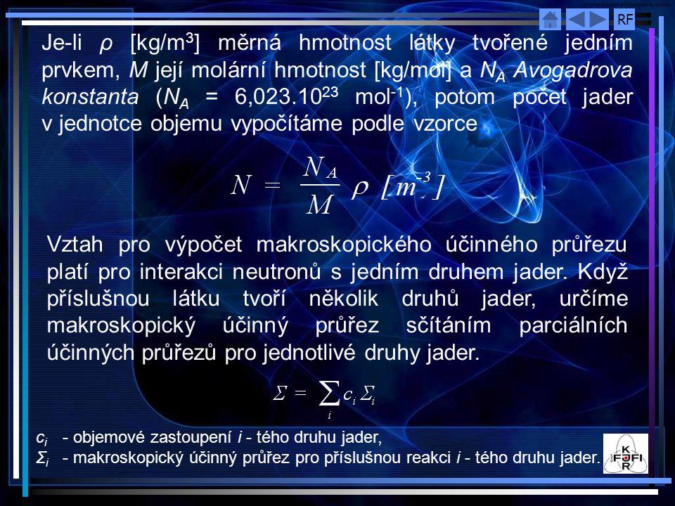 Je‑li ρ [kg/m3] měrná hmotnost látky tvořené jedním prvkem, M její molární hmotnost [kg/mol] a NA Avogadrova konstanta (NA = 6,023.1023 mol-1), potom počet jader v jednotce objemu vypočítáme podle vzorce